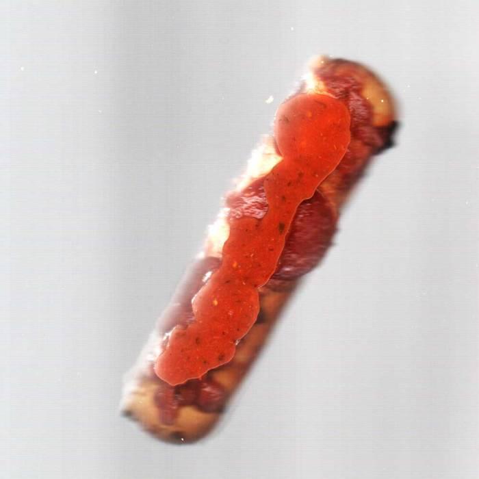 Smooshed marinara sauce-topped pizza stick