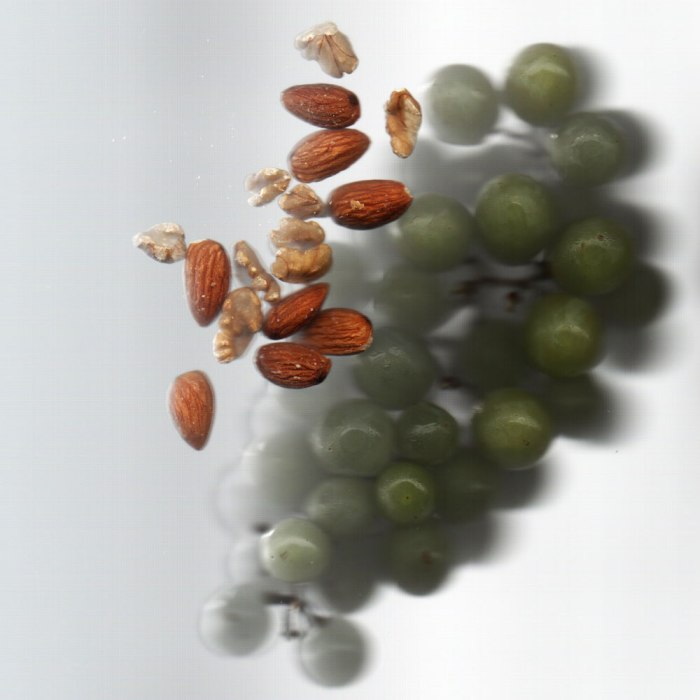 A bunch of grapes and a bunch of nuts in my scanner.