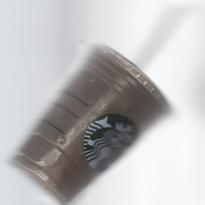 Grande Iced Coffee on its side in my scanner